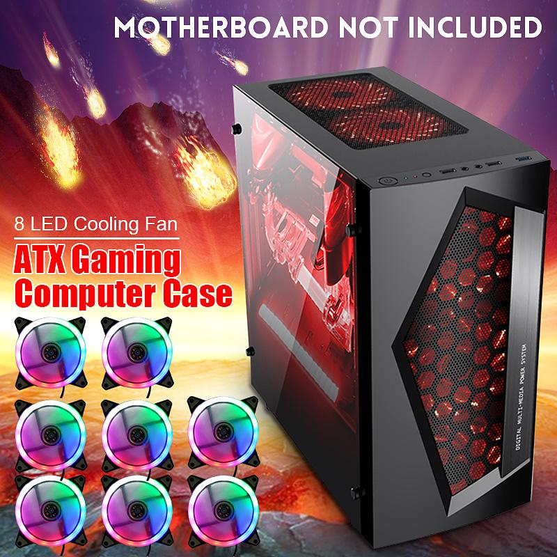 V3 ATX Computer Gaming PC Case 8 Fan Ports USB 3.0 For M-ATX/Mini ITX Motherboard Black/White 370 X 185 X 380mm