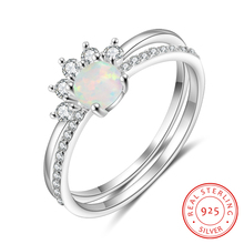 2 Pcs/Set 925 Sterling Silver White Opal Ring Simple Geometric Stackable Ring Zircon Finger Rings for Women Silver 925 Jewelry