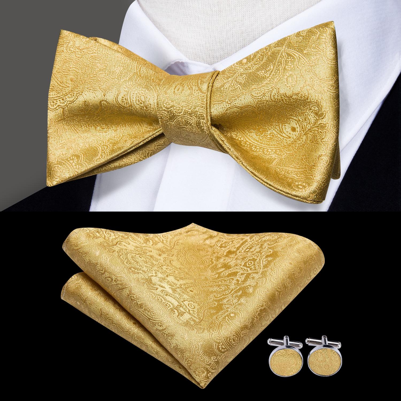 Hi-Tie 100% Silk Men's Black Bow Ties For Men Butterfly Self Bow Tie Hanky Cufflinks Set Luxury Gold Red Green Borboleta Tie Set