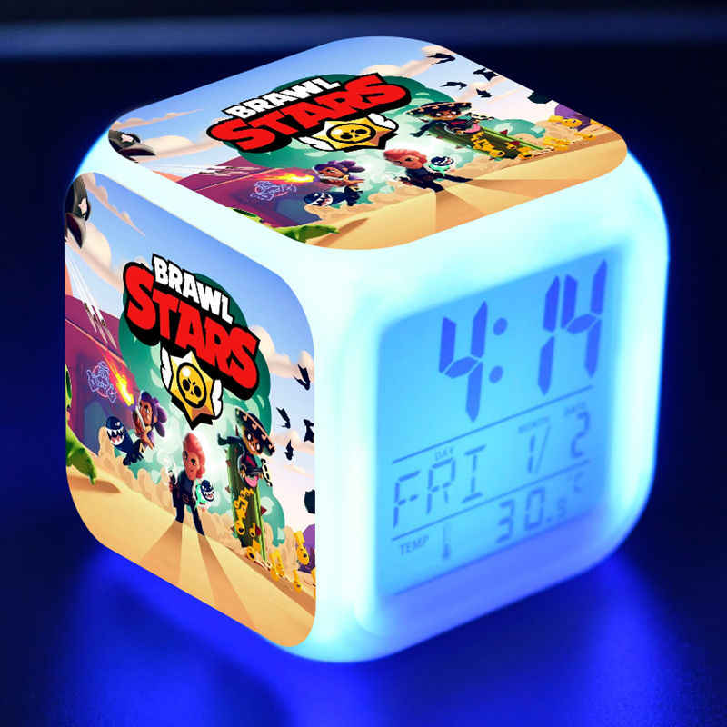 Brawl Star Figuras Luminous LED Alarm CLock Colorful Flash Desk Light Flash Game Model Browl Stars Figure Toys for Kids gift