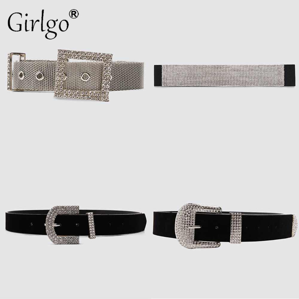 Girlgo Fashion Crystal Shiny ZA Belts For Women Female Deduction Side Silver Color Buckle Jeans Wild Belts Chain Dress Jewelry