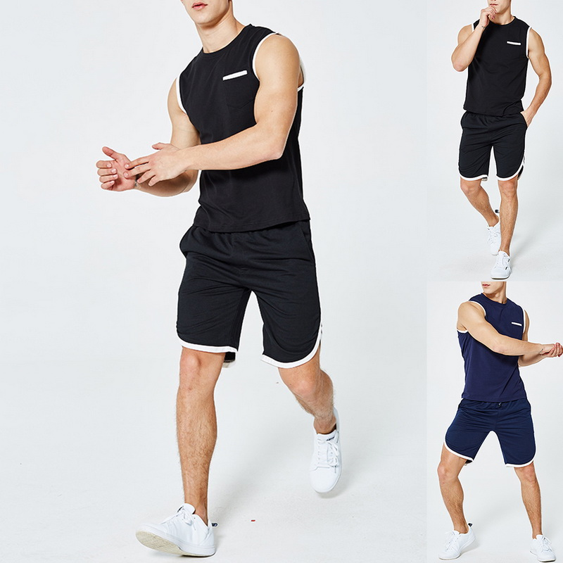 Men's Summer Sports Suit Contrast Cuffs Top Sleeveless T-shirt Five-point Shorts Wild Comfortable Casual Two-piece Suit 2020