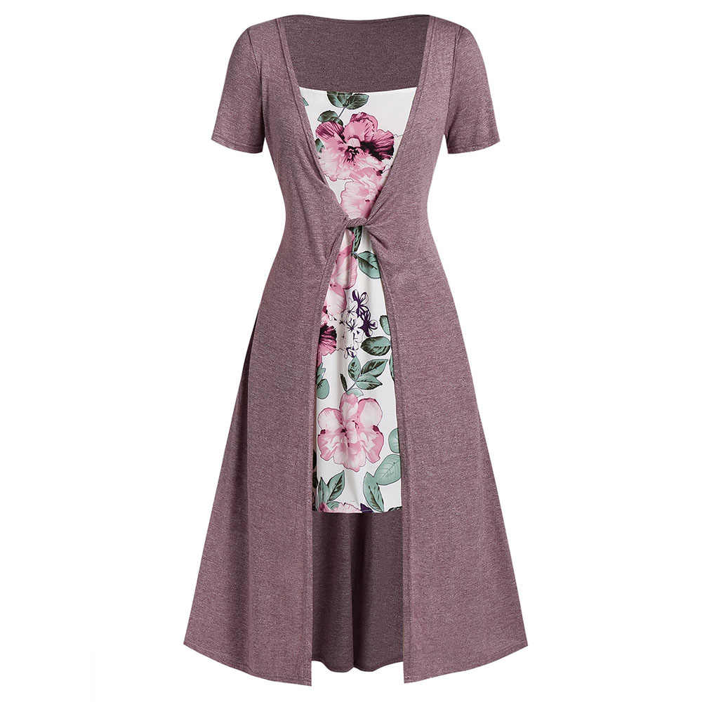ROSEGAL Plus Size High Waist Maxi Floral Print Dress A-Line Short Sleeves Women Casual Square Collar Ankle-Length Long Dress