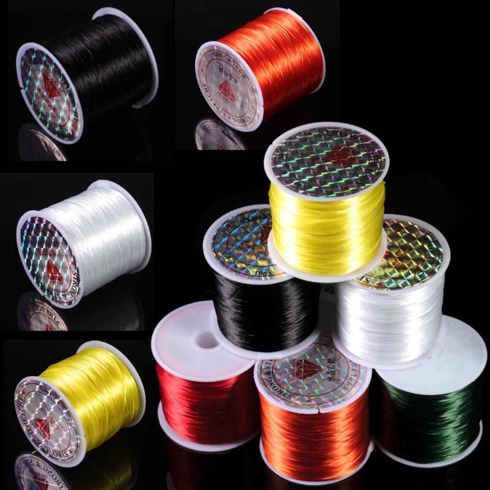 Гибкий эластичный Хрустальный шнур с цветной нитью 10 м/рулон