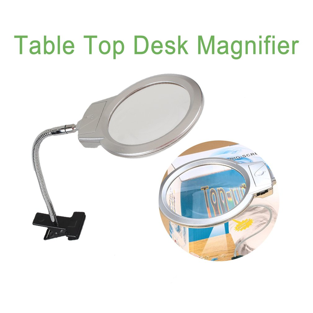 Clip On Desktop Illuminated Magnifier Magnifying Glass Reading Loupe Metal Hose LED Lighted Lamp Top Desk Magnifier With Clamp|Bathroom Accessories Sets|   - AliExpress