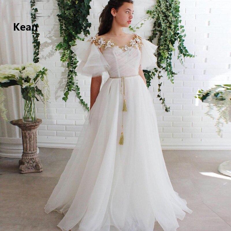 Ivory Evening Dress Cap Sleeve Gold Lace Flowers Belt Islamic Dubai Kaftan Saudi Arabic Evening Gown Boho Prom Dress Custom Made