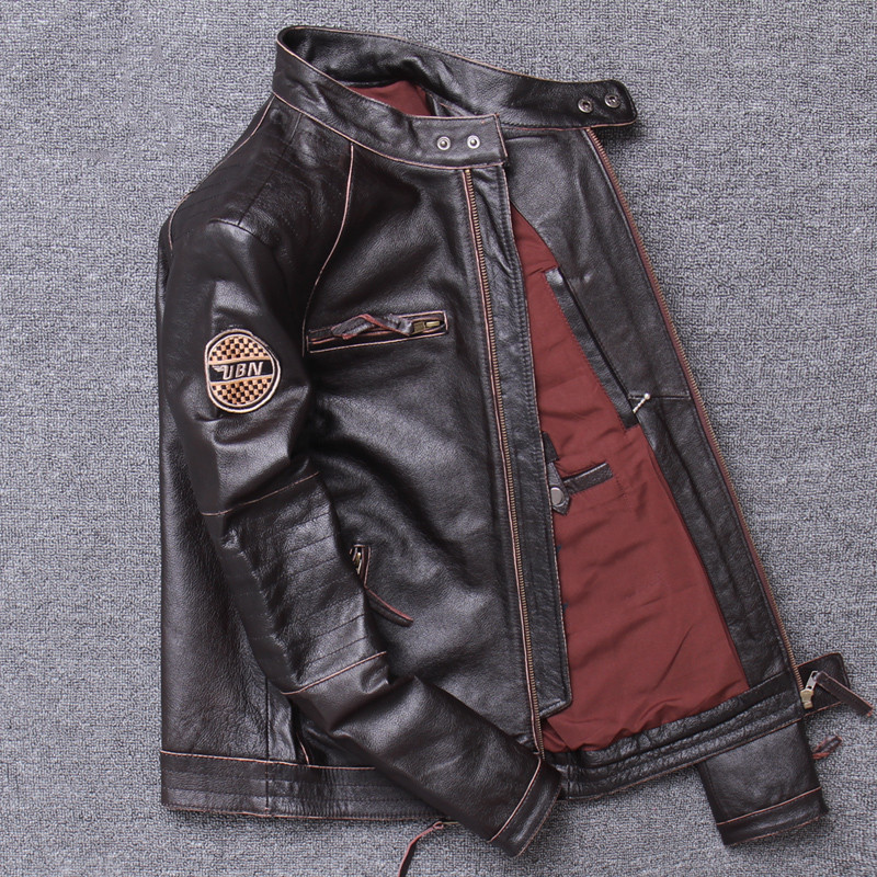 2019 Vintage Brown Men Slim Fit Motorcycle Leather Jacket Plus Size XXXXL Genuine Cowhide Spring Biker 2019 Vintage Brown Men Slim Fit Motorcycle Leather Jacket Plus Size XXXXL Genuine Cowhide Spring Biker's Coat FREE SHIPPING