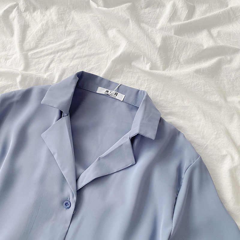 Rahat temel kısa kollu bluz kadın v yaka gevşek ofis resmi gömlek kadın moda mavi sarı hırka Tops
