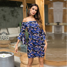 2019 Dress Vadim Polyester None Empire Print Europe And The New Hot Speaker Seven-point Sleeve Printing Package Hip Sexy