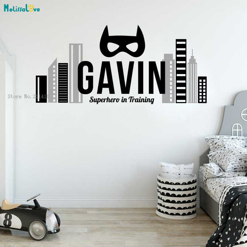 5 X Superheroes Removable Vinyl Wall Decals Personalized boy Name Wall Stickers