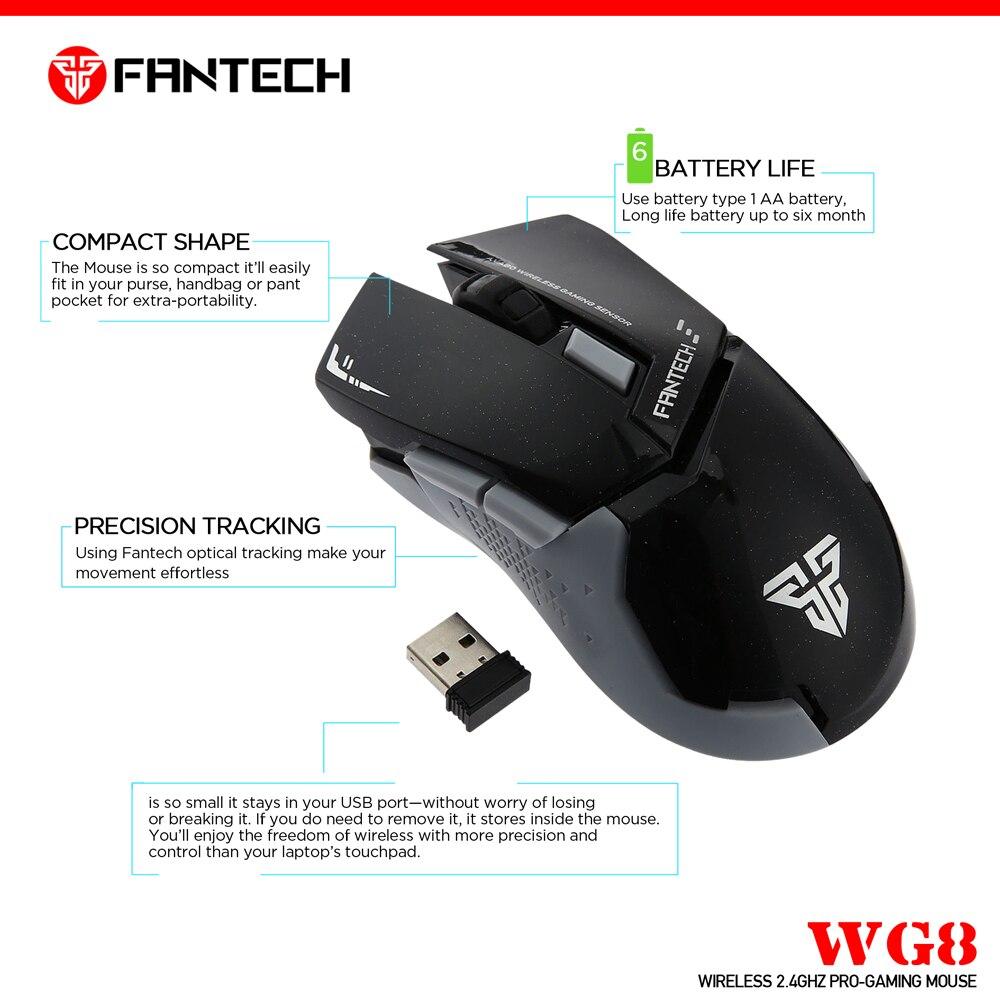 Image 3 - Fantech WG8 2,4G беспроводная мышь 6 кнопок 2000 dpi игровая мышь беспроводная мышь с приемником USB для ПК ноутбука-in Мыши from Компьютер и офис
