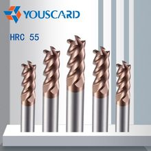 YOUSCARD Discount Price Cutting HRC50 4 Flute 4mm 5mm 6mm 8mm 12mm Alloy Carbide Milling Tungsten Steel Milling Cutter End Mill