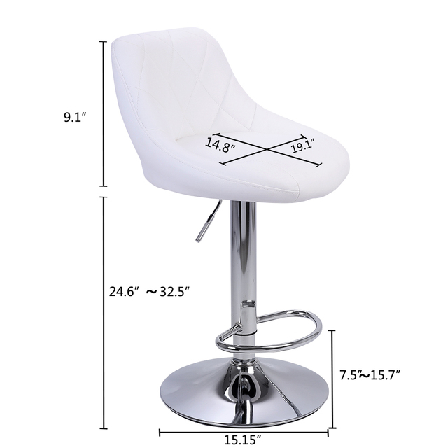 2pcs Adjustable  Bar Chairs High Type with Disk No Armrest Rhombus Backrest Design Bar Stools  Two Colors to Choose 4