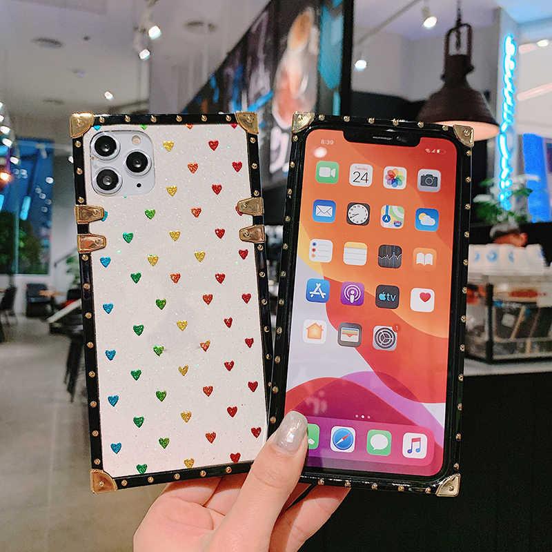 خزائن هاتف آيفون 11 برو ماكس Xr Xs ماكس Coque ساحة الماس حامل الحب القلب بلينغ الترتر حقيبة لهاتف أي فون X 6 6S 7 8 Plus
