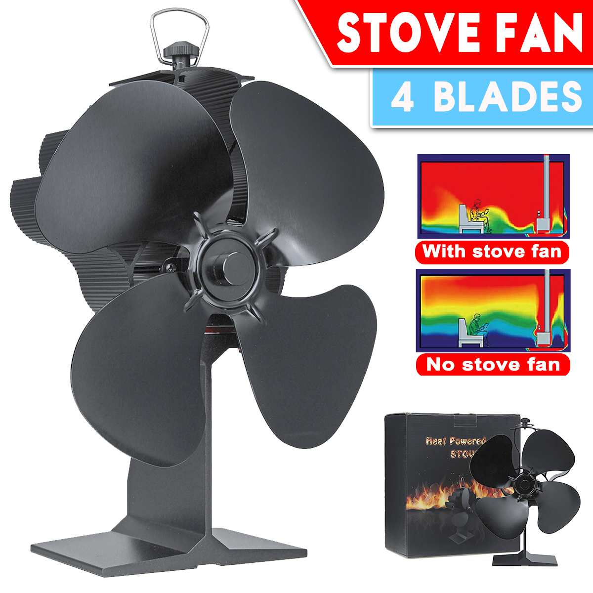 4 Blades Heat Powered Stove Fireplace Fan For Home Wood Burning Fireplace Eco-Friendly Circulate Warm Air Save Fuel Efficiently