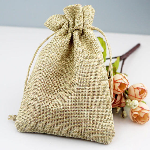 4 x 6 Inch Linen with Jute Drawstring Embroidered Gift Bag Love Grows Tree Stump with Flowers Customize and Save in Bulk!