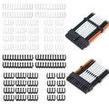 1 комплект, 24 контакта x 4 8 контактов x 12 6 контактов x 8, полипропиленовый трос, зажим/комод для 3,4 мм, кабели с рукавом, разъем питания, черный