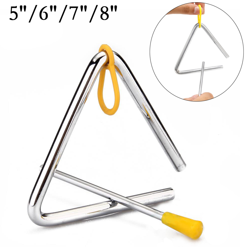 5/6/7/8 Inch Orff Percussion Musical Instruments Triangle Bell Children's Early Educational Musical Toy Gifts For Kids Silver