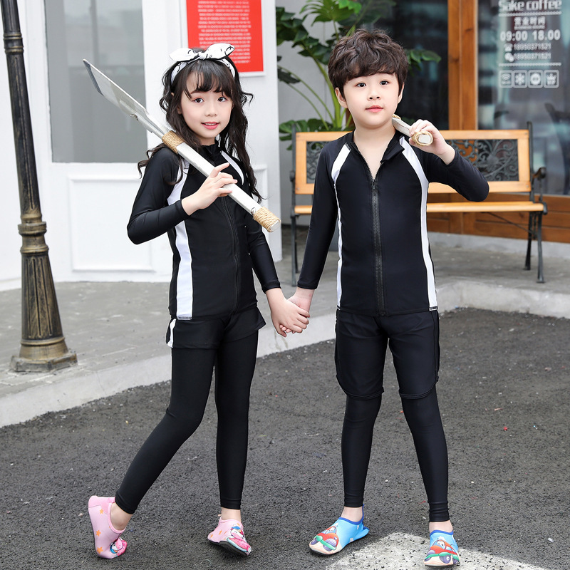 KID'S Swimwear Boy Split Type BOY'S Girls Big Boy GIRL'S Baby Long Sleeve Trousers Diving Hot Springs Tour Bathing Suit