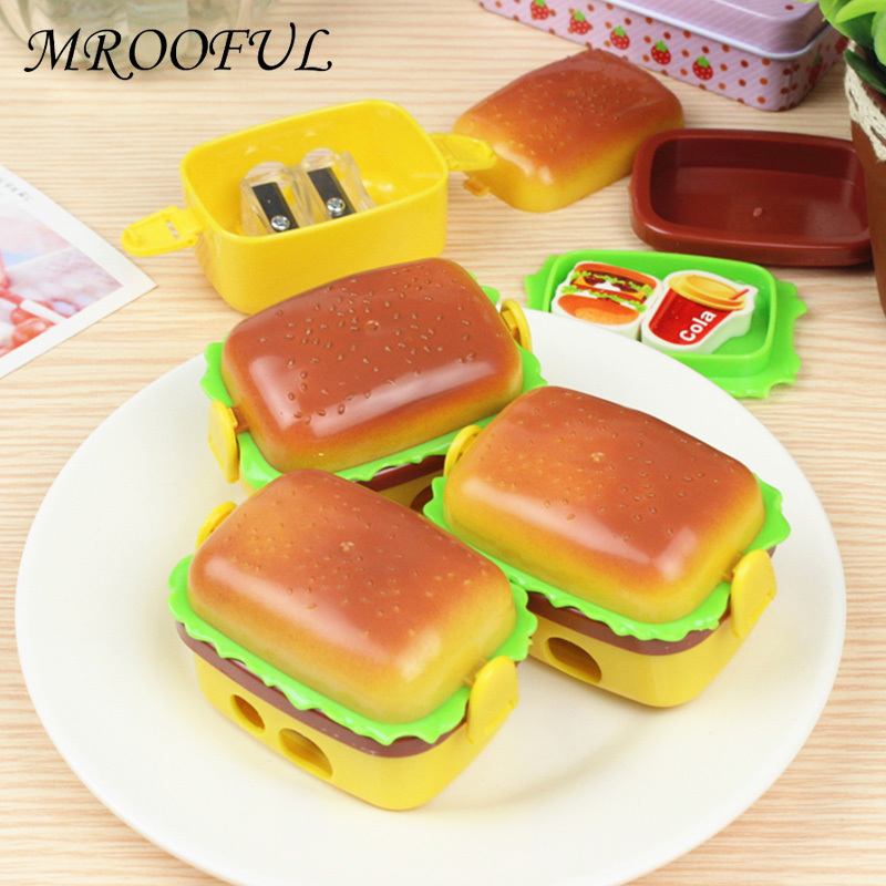 Novelty Double Holes Hamburger Pencil Sharpeners With Two Rubbers Erasers Kawaii Plastic Pencil Sharpener Student Stationery