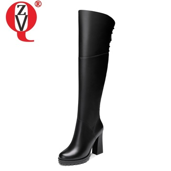 ZVQ winter new fashion over knee boots outside super high heels round toe genuine leather women shoes drop shipping size 33-39 фото