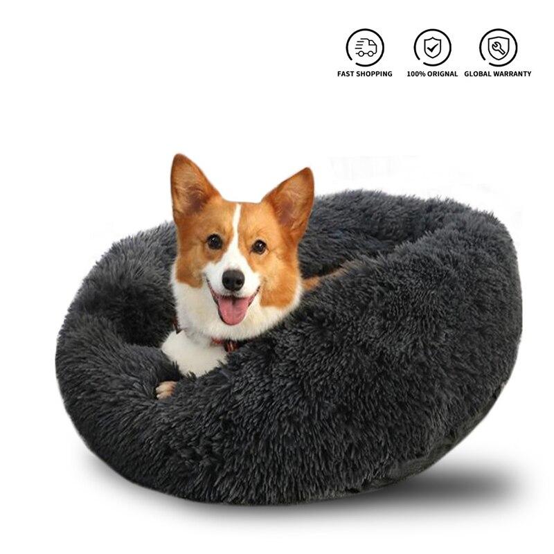 Super doux chien lit longue peluche beignet rond chien chenil confortable moelleux coussin tapis hiver chaud pour chien chat maison accessoire