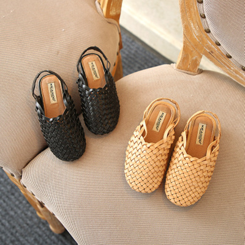 Summer Explosion Children's Sandals Fashion Korean Girls Knitted Shoes With Elastic Band Design Baotou Soft Bottom Boys Shoes