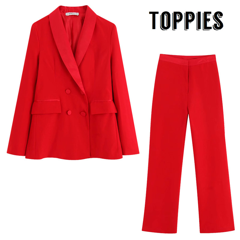 Red Suit Set Women Double Breasted Blazer High Waist Straight Pants Ladies Formal Two Piece Set