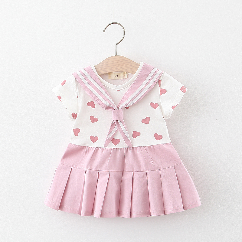 New Fashion Baby Girls Clothes Cute Striped Tie Heart Print Newborn Dress Baby Princess Dress Infant Toddler Dress Girl Dress