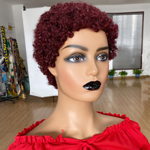 Short Afro Curly Human Hair Wigs Short Pixie Cut Wig For Black Women Brazilian Full Machine Made Wig 99J Remy Hair
