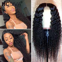 Kinky Curly Lace Wig 5inch Deep Part Lace Wig 150% perruque boucle cheveux bresiliens Middle Part Lace Wig for Women Bon Prix