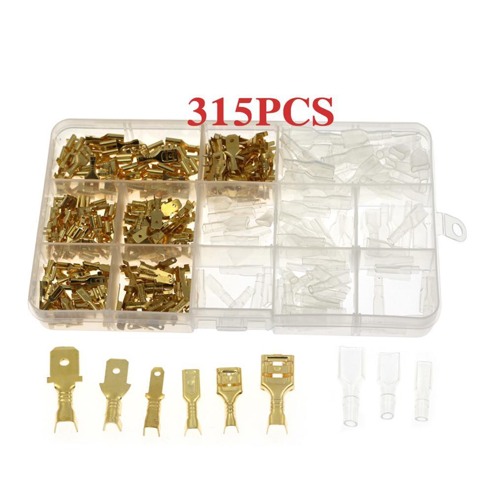 315 шт. изолированный Штекерный соединитель для проводов 2,8/4,8/6,3 мм обжимные клеммы для электрических проводов контактные разъемы разные ком...