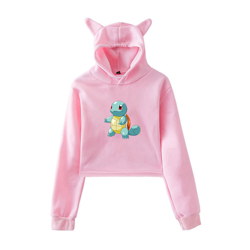 Pokemon Charizard Squirtle Pink Hoodie Womens Clothing Harajuku Sweatshirt Kpop Clothes for Girl Outerwear Womens Harajuku Shirt image