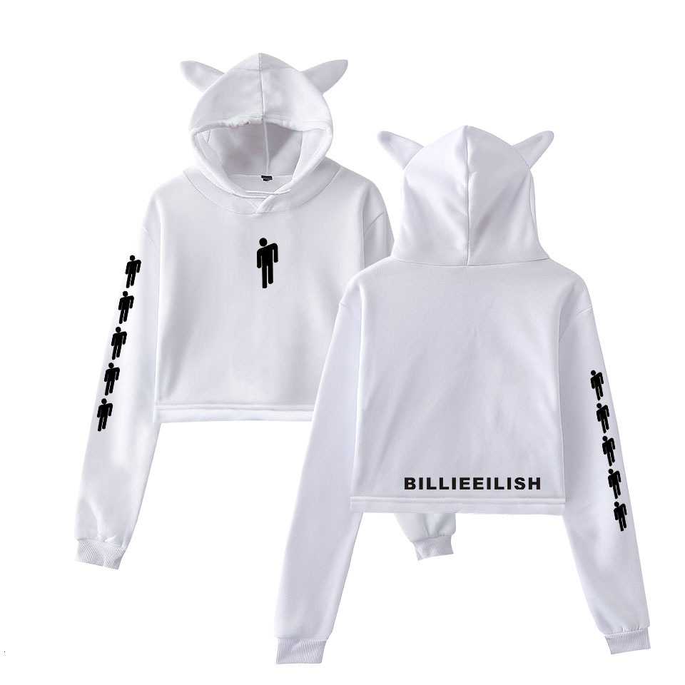 Billie Eilish Hoodie Women Sexy Cat Ear Sweatshirt Fashion Trend Cat Crop Top Hot Sale Kpop Kawaii Harajuku Hoodies Sweatshirt