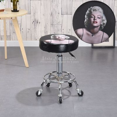 30%1B Bar Chair Lift Beauty Chair Home Bar Bar Stool Nordic Wrought Iron Bar Chair European Minimalist Rotating Pulley Stool