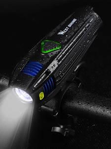 Bike-Flashlight West Biking Led-Lantern Recharge Waterproof 2000mah USB 5-Modes
