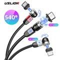 USLION 2020 新 LED 磁気ケーブル 3 で 1 USB マイクロデータライン充電器タイプ C usb ケーブル iphone サムスン急速充電ケーブル