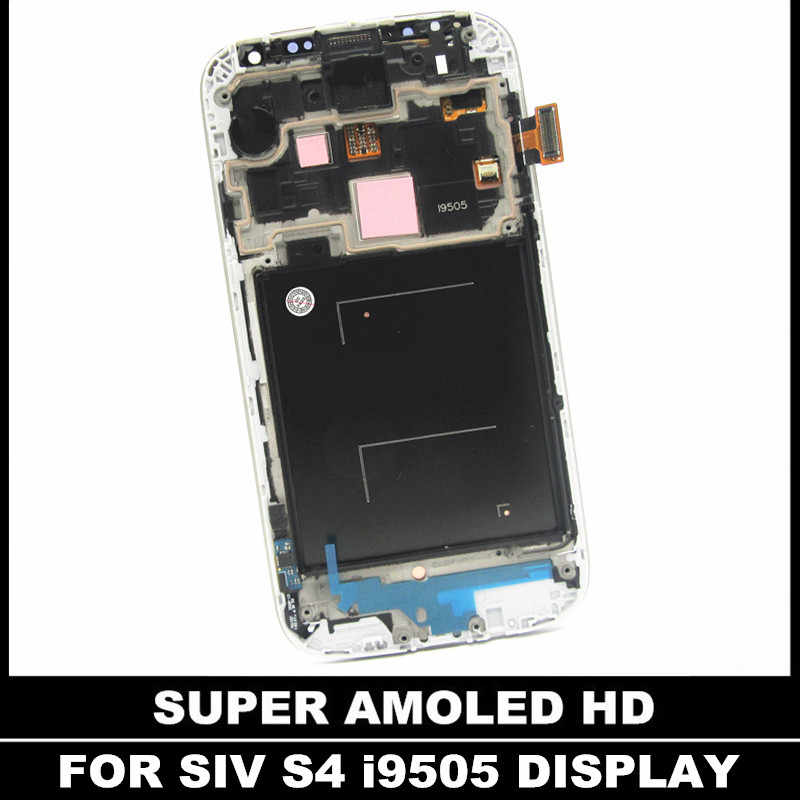 اختبار AMOLED شاشات LCD مع الإطار لسامسونج غالاكسي SIV S4 i9505 شاشة هاتف LCD شاشة مجموعة رقمنة اللمس استبدال