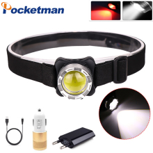 LED COB Headlamp USB Rechargeable  Head Light with Built-in Battery Waterproof Head Lamp White Red Lighting Camping