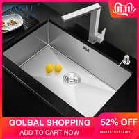 QINGYU ELF küche waschbecken kein blei handgemachte gebürstet 304 edelstahl 3mm dicke einzigen schüssel bar zähler küche waschbecken