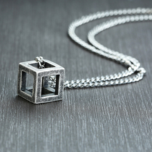 Vnox Retro Hollow Cube Pendant for Men Stainless Steel Square Vintage Necklace Punk Geometric Collier 24