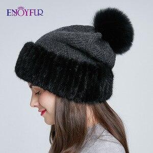 Image 3 - Enjoyfur冬のミンクの毛皮ニットウール帽子女性キツネの毛皮のポンポンだらしないビーニーファッション暖かいスタイルキャップ青少年のための