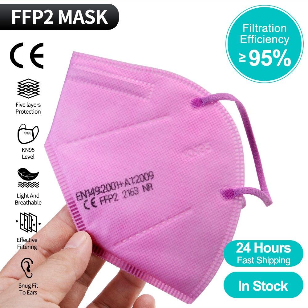 1-100 pièces ffp2masque KN95 masque sécurité poussière respirateur or masque masques réutilisables de protection Mascarillas FPP2 kn95masque CE