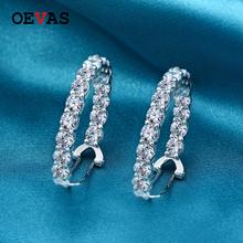 OEVAS 100 925 srebro biżuteria kolczyki dla kobiet 4mm utworzono Moissanite diamentowe klipsy hurtownia biżuterii tanie tanio CNAS SILVER 925 sterling Cyrkon E028 Kobiety TRENDY Brak GEOMETRIC earrings jewelry stud earrings earrings set accesorios