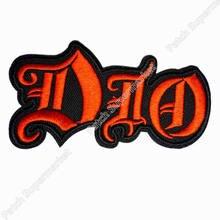DIO kırmızı Cut Out Logo demir/yama dikmek ağır Metal t shirt TRANSFER MOTIF aplike kaya Punk rozeti toptan