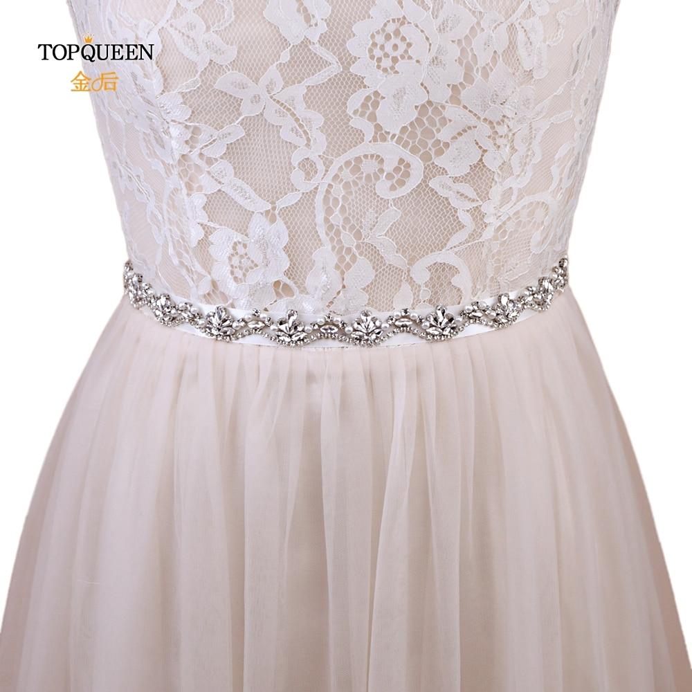 TOPQUEEN S421-S Pearls Bridal Belt Sliver Crystal Wedding Belt Rhinestone Wedding Dress Sash Belt For Evening Dress Belt