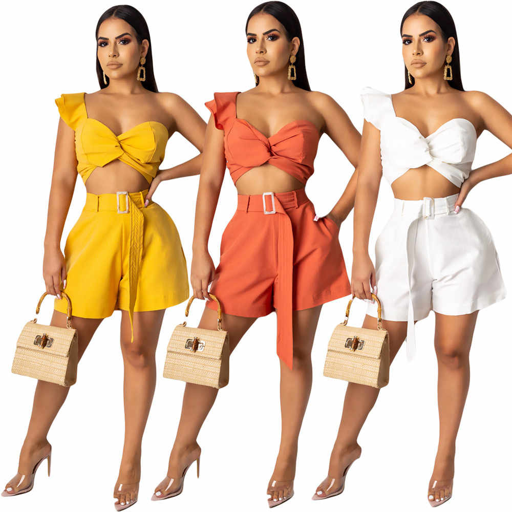Sexy Party 2 Piece Set Women's Suit Draped Strapless Crop Top and High Waist Shorts with Belt Ladies Two Piece Outfits Female
