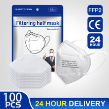 Masque facial FPP2 pour la Protection contre les Virus, 100 pièces, respirateur anti-poussière, Protection buccale, kn95