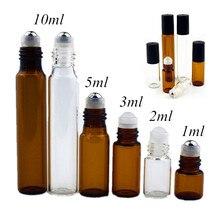 """5 PC/Pack 1ml 2ml 3ml 5 מ""""ל 10ml אמבר דק זכוכית רול על בקבוק מדגם מבחן בקבוקי שמן עם רולר מתכת/זכוכית כדור"""