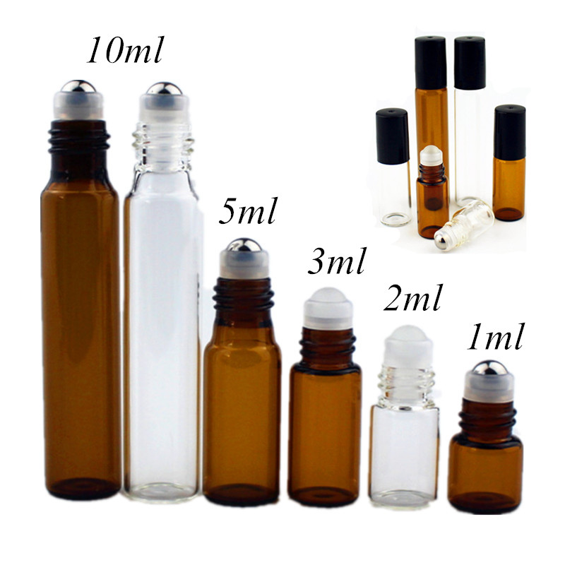 5PC/Pack 1ml 2ml 3ml 5ml 10ml Amber Thin Glass Roll On Bottle Sample Test Essential Oil Vials With Roller Metal /Glass Ball